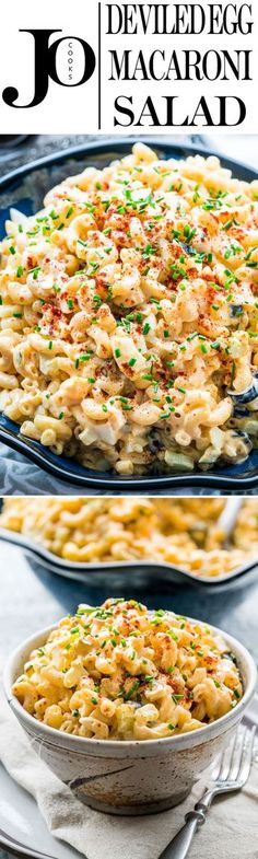 This Deviled Egg Macaroni Salad tastes just like deviled eggs, super creamy and loaded with celery, olives, pickles and red onion. Quick and delicious!