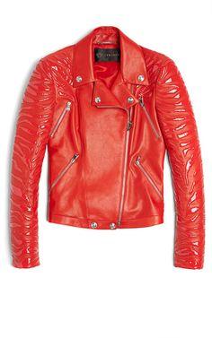 Versace Leather Moto Jacket With Vinyl Animal Stripes