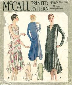 1920s 1930s vintage sewing pattern flapper day or evening dress bias cut drop…