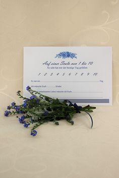 """Glücksbotschaftskarte """"Fleur"""" - Mit dieser Glücksbotschaftskarte haben die Gäste die Möglichkeit, dem Brautpaar nette Worte zu hinterlassen. Place Cards, Place Card Holders, Nice Words, Newlyweds"""