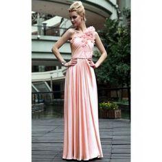 Zierliche One Shoulder Abendkleider Pink A-Linie Chiffon lang