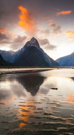 Sunset and sand ripples, Milford Sound - NZ