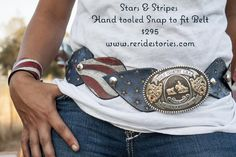 Stars and Stripes hand tooled leather belt. Made by the girls at Re-Ride Stories.
