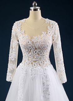 Rochie de mireasa printesa cu maneci si spate transparent COD IMP24-b