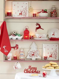 A collection of red and white Christmas Decor Ideas. Swedish Christmas, Christmas Dishes, Christmas Kitchen, Noel Christmas, Winter Christmas, Vintage Christmas, Christmas Crafts, Christmas Decorations, Tesco Christmas