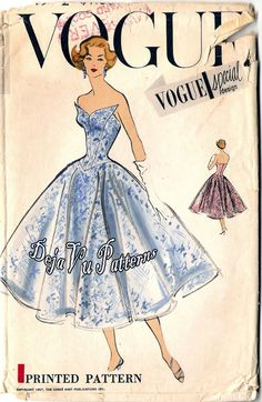Vogue S4772 Vintage 1950s Strapless Evening Gown by DejaVuPatterns, $225.00