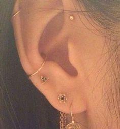 piercing #PiercedEarrings Ear Piercing Helix, Piercing Face, Cute Ear Piercings, Multiple Ear Piercings, Unique Piercings, Mouth Piercings, Emerald Earrings, Gold Hoop Earrings, Crystal Earrings