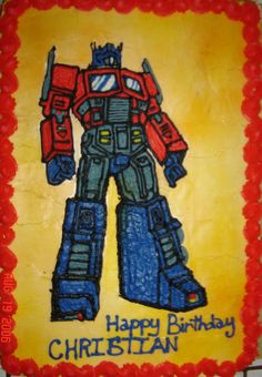 Optimus Prime - Made for a collector of transformers.  Red Velvet cake with a buttercreme transfer.