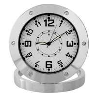 Round Shaped Surveillance Spy Clock With Camera- Silver Time Shop, Gadgets, Clock, Spy, Communication, Silver, Products, Watch, Clocks