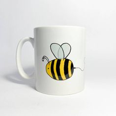 Personalised ceramic bee illustration mug – And so to Shop Bee Illustration, Bee Design, Personalized Mugs, New Home Gifts, Order Prints, Fig, Hand Lettering, Gifts For Women, Recycling