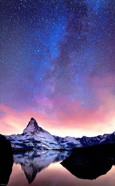 Starry sky over Matterhorn, Switzerland