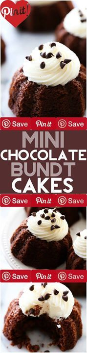 Mini Chocolate Bundt Cakes These are an extremely moist chocolate cake ...