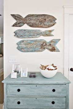 chunky hand carved fish for wall decor in a chippy worn finish! Heritage Sands of Cape Cod | mackenzie & mae