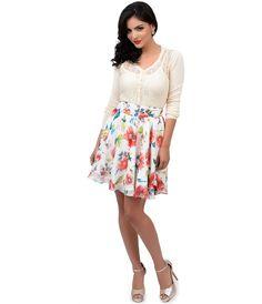 Unique Vintage Ivory Floral Chiffon High Waist Twirl Flare Skirt
