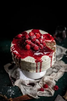 Raspberry Brown Butter Cake with Goat Cheese Buttercream & a Raspberry Port Reduction