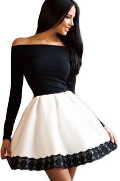 So Chic! Cocktail Skater dress with Long Sleeves by Urban Chic