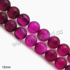 Gemstone Beads, Magenta rose agate, Smooth round, Approx 12mm, Hole: Approx 1.2mm, 33pcs per strand, Sold by strands