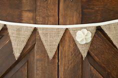 Burlap Bunting Banner, wedding decor, rustic decor, on Etsy, $31.50