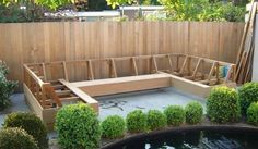 Corner garden bench - Workplace While early in strategy, this pergola has become encountering a Backyard Seating, Backyard Retreat, Garden Seating, Outdoor Seating, Backyard Patio, Backyard Landscaping, Outdoor Spaces, Pallet Patio, Diy Patio