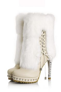 Rhinestone and Rabbit Trimmed High Heel Boots - I really hope that is not real rabbit fur....
