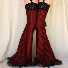 Burlesque Garter Pants Leg warmers burgundy stripe. $55.00, via Etsy.