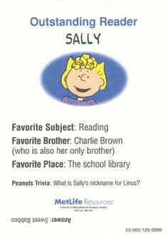 Peanuts MetLife All Star Cards - Sally