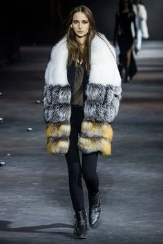 Philipp Plein Fall 2015 Ready-to-Wear - so much great leather at Philipp Plein, but this fur has really got me