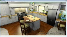 Favorite Space in the house?  The kitchen, of course! Ray trace of a kitchen done in Chief Architect Software.