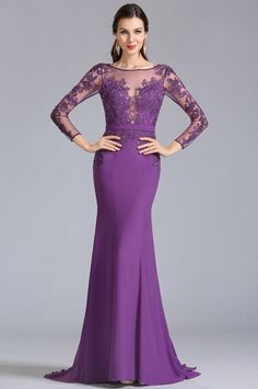 eDressit Long Sleeves Applique Purple Evening Dress Formal Dress (02152906)