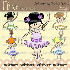 ❤ Nina ballerina set ❤  ❤❤❤❤❤❤❤❤❤❤❤❤❤❤❤❤❤❤❤❤❤❤❤❤❤❤  ★ Every set contains 5 images with the ones you can print and make craft items. All images are high quality 300 DPI and come in both transparent PNG and non-transparent JPG formats. Every single image it´s about 8 inches size. ★ The images will be sent individually, EMAILED zipped to you within 12-24 hours to your Etsy email address by default once confirmed the payment. If you need the file be sent to a different address, please advise.  ★…