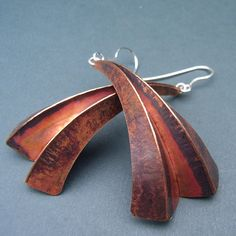 Three fold copper earrings | Contemporary Earrings by contemporary jewellery designer Debbie Long