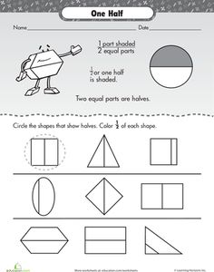 math worksheet : worksheets fractions and articles on pinterest : Kindergarten Fractions Worksheets
