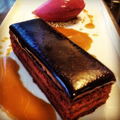Layered chocolate cake, beetroot ice cream & salted caramel toffee sauce