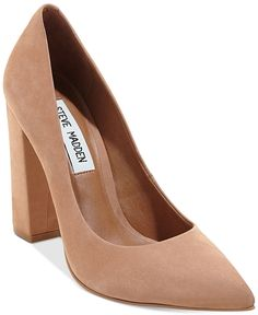 An updated classic for the office, Steve Madden's Primpy pumps feature almond toe styling and a chunky block heel for a go-to look.   Nubuck leather upper; manmade sole   Imported   Almond closed-toe