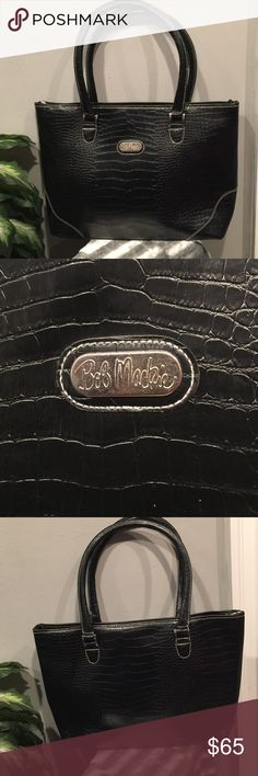 """BOB MACKI"" Black Alligator Large Tote Never used, new, top zip closure. Authentic Nylon Signature lining  1 interior zipper pocket. Bob Macki Bags Totes"