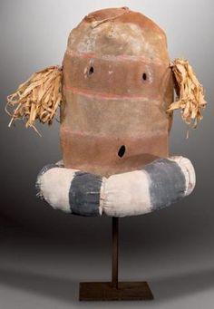 Masque Clown ? RIO GRANDE, Nouveau-Mexique. Ca. 1930. Masque en peau
