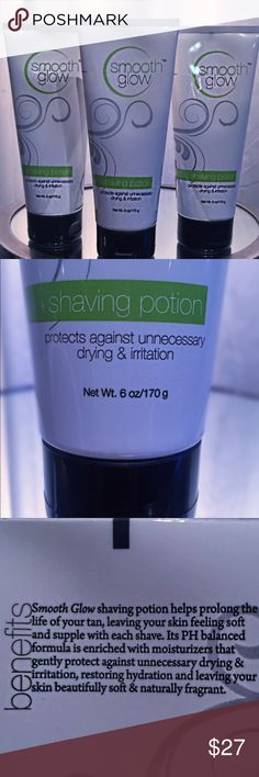SMOOTH GLOW shaving lotions Smooth Glow shaving lotion is a product that can be used anytime of the year only extra special treatment for those who opt for a spray tan or a sunless tan of any kind shaving lotion, it's part of the spray tan line used on Dancing With The Stars, Beverly Hills Housewives, Keeping Up With The Kardashian's as well the number one product used in Hollywood California- Beverly Hills called Endless Glow. These are large tubes price includes all three. Endless Glow…