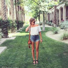 Where did Millie Mackintosh get her Coachella outfit? The style star shares her festival fashion in an off-the-shoulder top and denim shorts. V Festival Outfits, Festival Fashion, Festival Style, Summer Wear, Spring Summer Fashion, Summer Outfits, Bardot Top Outfit, Coachella 2016, Millie Mackintosh