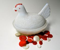Vintage Small Milk Glass Hen Lovely Detailing Red by borahstyle, $10.00