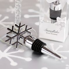 Silver Snowflake Wine Stopper Favor by Beau-coup