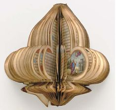 c.1553. Fleur de lys-shaped Book of Hours, in Latin, use of Rome. 180 x 80mm. i + 117 leaves, each page with 24 lines. Eleven lobe-shaped miniatures. Only one other book of this format is recorded. It is of the same date as the present manuscript and was originally made for Diane de Poitiers and Henri II.