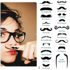 Novelty Finger Beard Waterproof Temporary Moustache Mustache Tattoos 19 Styles on eBay!