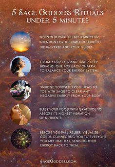 5 Sage Goddess #Rituals under five minutes.