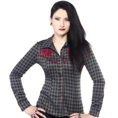 Black & Gray Roses Plaid Western Shirt Rockabilly Head on west with this western yet feminine inspired plaid shirt with long sleeves, pearly red buttons & red trimmed yoke is a must for all those rockabilly gals lookin' for the perfect cozy day time look. 95% Polyester 5% Spandex great stretch! Sourpuss Tops Button Down Shirts