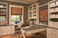 home office: I like the centered work station flanked by symmetrical storage units, and is that a pull out surface or an L-shaped extension???