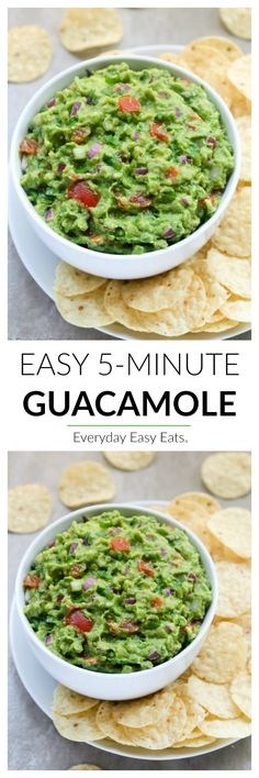 This easy, Homemade Guacamole Recipe is ready in just 5 minutes. A healthy, flavorful Mexican dip that is perfect for entertaining and snacking. Mexican Food Recipes, Vegetarian Recipes, Cooking Recipes, Healthy Recipes, Delicious Recipes, Avocado Recipes, Yummy Yummy, Healthy Eats, Italian Recipes