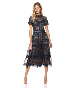 843c0577b2d Sangria Womens Sweet Heart Neck Lace Bodice Evening Gown Black Putty ...