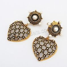 Plastic Pearl Zinc Alloy Earring, with ABS Plastic Pearl, stainless steel post pin, Heart, antique gold color plated, enamel & hollow, nickel, lead & cadmium free, 63x33mm, Sold By Pair