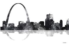 "Trademark Art ""Gateway Arch St Louis MO Skyline by Marlene Watson Graphic Art on Wrapped Canvas Size: Saint Louis Arch, St Louis Mo, Saint Luis, Gateway Arch, Artist Canvas, Missouri, Canvas Wall Art, Skyline, Fine Art"
