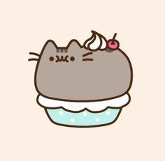 Pusheen looks so cute as a cupcake! Gato Pusheen, Pusheen Love, Chat Kawaii, Kawaii Cat, Nyan Cat, Cute Kawaii Drawings, Cat Party, Cat Wallpaper, Cute Unicorn